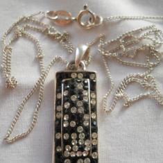 Medalion argint cu marcasite si Lant argint Set Superb Finut Elegant de Efect - Pandantiv argint