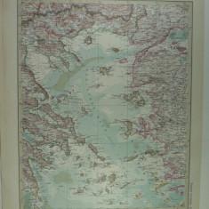 HARTA VECHE - MAREA EGEE - DIN STIELERS HAND ATLAS - ANUL 1928