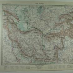 HARTA VECHE - IRAN TURAN - DIN STIELERS HAND ATLAS - ANUL 1928 - EDITOR GOTHA JUSTUS PERTHES - DR.H.HAACK