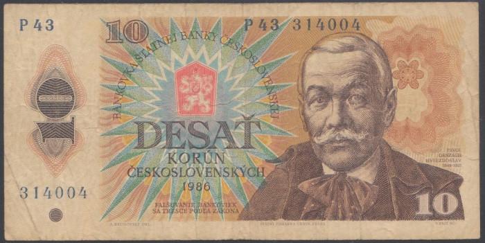 Cehoslovacia 10 korun 1986 VF-