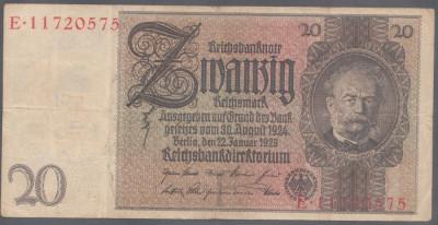 Germania 20 Reichsmark 1929 VF foto