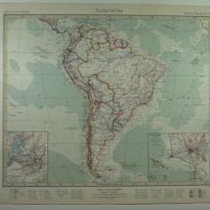 HARTA VECHE - AMERICA DE SUD - DIN STIELERS HAND ATLAS - ANUL 1928