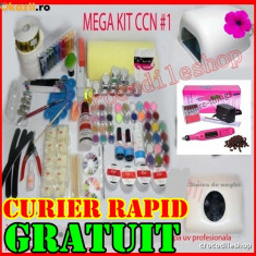 KIT Unghii false Sina SET GEL UV MANICHIURA LAMPA, PILA, ASPIRATOR, GELURI CCN