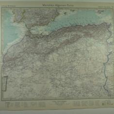 HARTA VECHE - MAROC - ALGERIA - TUNIS - DIN STIELERS HAND ATLAS - ANUL 1928