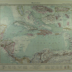 HARTA VECHE - INDIILE DE VEST - DIN STIELERS HAND ATLAS - ANUL 1928