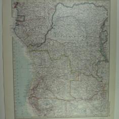 HARTA VECHE - CONGO - DIN STIELERS HAND ATLAS - ANUL 1928