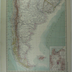 HARTA VECHE - SUD CHILE - PATAGONIA - DIN STIELERS HAND ATLAS - ANUL 1928