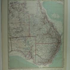 HARTA VECHE - AUSTRALIA DE EST - DIN STIELERS HAND ATLAS - ANUL 1928