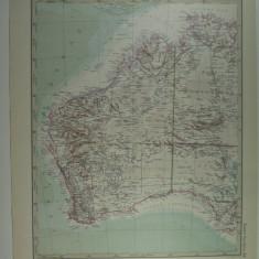 HARTA VECHE - AUSTRALIA DE VEST - DIN STIELERS HAND ATLAS - ANUL 1928