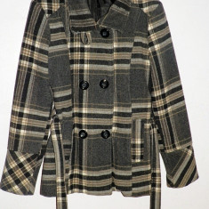 Palton de dama in carouri din lana 70% perfect pentru iarna, cu cordon pentru fixare perfecta pe corp - Palton dama, Marime: S, Culoare: Negru, Negru, S