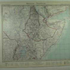 HARTA VECHE - ABISINIA - SOMALIA - DIN STIELERS HAND ATLAS - ANUL 1928