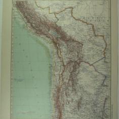 HARTA VECHE - AMERICA DE SUD - ANZII CORDILIERI - DIN STIELERS HAND ATLAS -1928