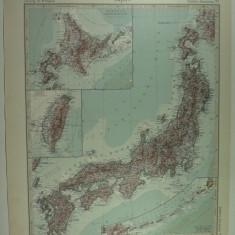 HARTA VECHE - JAPONIA - DIN STIELERS HAND ATLAS - ANUL1928