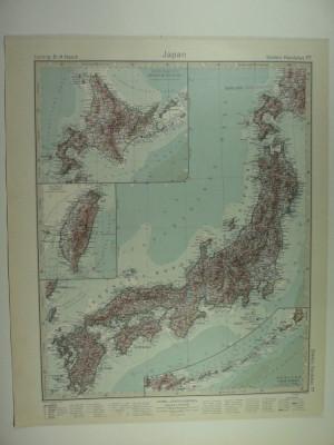 HARTA VECHE - JAPONIA - DIN STIELERS HAND ATLAS - ANUL1928 foto