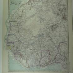 HARTA VECHE - AFRICA DE VEST - DIN STIELERS HAND ATLAS - ANUL 1928