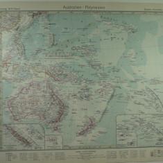 HARTA VECHE - AUSTRALIA - POLINEZIA - DIN STIELERS HAND ATLAS - ANUL 1928