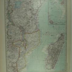 HARTA VECHE - AFRIKA DE EST - DIN STIELERS HAND ATLAS - ANUL 1928