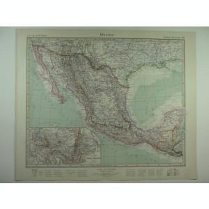HARTA VECHE - MEXICO - DIN STIELERS HAND ATLAS - ANUL 1928