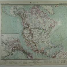 HARTA VECHE - AMERICA DE NORD - DIN STIELERS HAND ATLAS - ANUL 1928