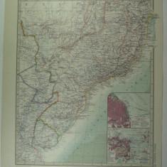 HARTA VECHE - SUDUL BRAZILIEI - DIN STIELERS HAND ATLAS - ANUL 1928