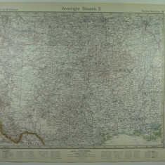 HARTA VECHE  - S.U.A - STATELE DIN SUD - DIN STIELERS HAND ATLAS 1928