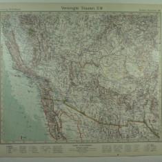 HARTA VECHE - S.U.A - STATELE DIN SUD VEST - DIN STIELERS HAND ATLAS ANUL 1928