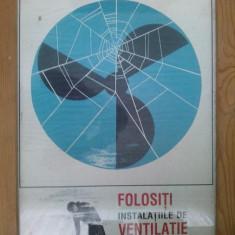 Afis vechi din perioada comunista - cu tematica PROTECTIA MUNCII - RSR