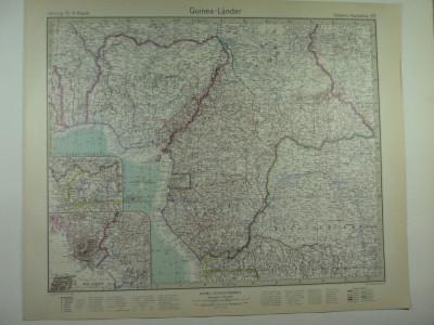 HARTA VECHE - GUINEA - DIN STIELERS HAND ATLAS - ANUL 1928 foto