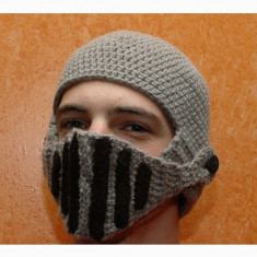 Caciula cavaler masca casca coif haioasa calduroasa iarna ski crosetata + CADOU!, Marime: Marime universala, Culoare: Negru