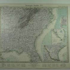 HARTA VECHE - S.U.A - STATELE DIN SUD EST - DIN STIELERS HAND ATLAS - 1928