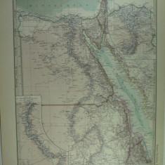 HARTA VECHE - EGIPT - DIN STIELERS HAND ATLAS - ANUL 1928