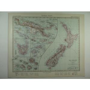 HARTA VECHE - OCEANIA - DIN STIELERS HAND ATLAS - ANUL 1928