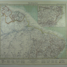 HARTA VECHE - NORDUL BRAZILIEI - DIN STIELERS HAND ATLAS - ANUL 1928