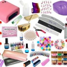 KIT SET Unghii false BeautyUkCosmetics GEL COLOR MANICHIURA, LAMPA UV PILA garnulatie