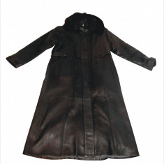 Haina de dama, din piele, neagra, lunga, pentru toamna/iarna, Marime: XL, Culoare: Negru