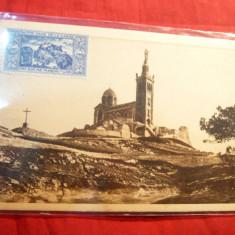 Ilustrata Franta 1938- Colina Notre Dame de la Garde ,Marseille ,stamp. reclama tigari Gitanes