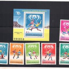 (No 100)timbre-Romania 1978-L.P.754+755 -C.M. de Fotbal Argentina 1978