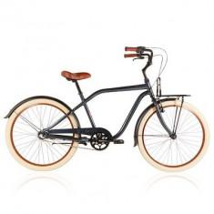 Bicicleta BTwin 59ERS - Bicicleta de oras, 17 inch, 26 inch, Numar viteze: 3, Aluminiu, Gri metalizat