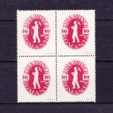Timbre ROMANIA 1946/* 195 = 1 MAI - ZIUA MUNCII IN BLOC DE 4 V. MNH.