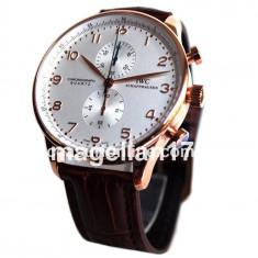 IWC Schaffhausen Portuguese Chronograph Golden Case ! Cea Mai Buna Calitate ! - Ceas barbatesc Iwc, Lux - elegant, Quartz, Inox, Piele, Cronograf