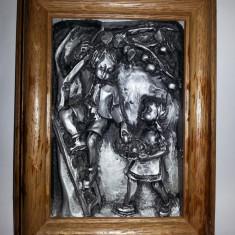 Tablou din lemn cu aplica din zinc copii culegand poamele 19cm/14cm - Metal/Fonta