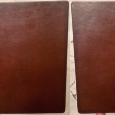 Ceausescu, A Romena a caminho do Socialismo, 1975, tiraj 6000 exemplare, legatura bibliofila integral in piele pe tablie de lemn - Carte Editie princeps