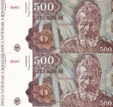 ROMANIA lot 2 buc. X 500 lei ianuarie 1991 UNC!!!