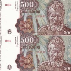 ROMANIA lot 2 buc. X 500 lei ianuarie 1991 UNC!!! - Bancnota romaneasca