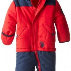 Combinezon US Polo Assn. Baby-Boys Color-Block Bunting Snowsuit, Marime: Alta, Culoare: Rosu