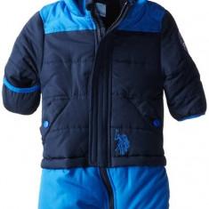 Combinezon US Polo Association Baby-Boys Infant Block Puffer Bunting Snowsuit, US Polo Assn, Culoare: Albastru, Baieti