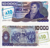 ARGENTINA 10 australes on 10.000 pesos ND 1985 UNC!!!