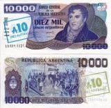 ARGENTINA 10 australes on 10.000 pesos ND 1985 UNC!!!