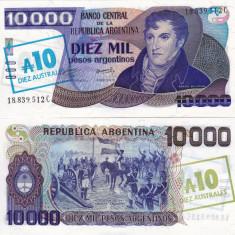 ARGENTINA 10 australes on 10.000 pesos ND 1985 UNC!!! - bancnota america
