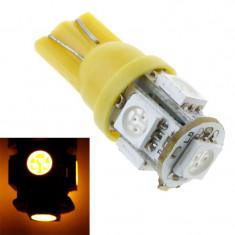 Led T10 galben cu chip 5050 w5w pentru plafoniera numar auto pozitii, Universal